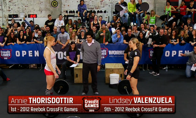 Lindsey Valenzuela vs Annie Thorisdottir at Reebok CrossFit Open 13.2